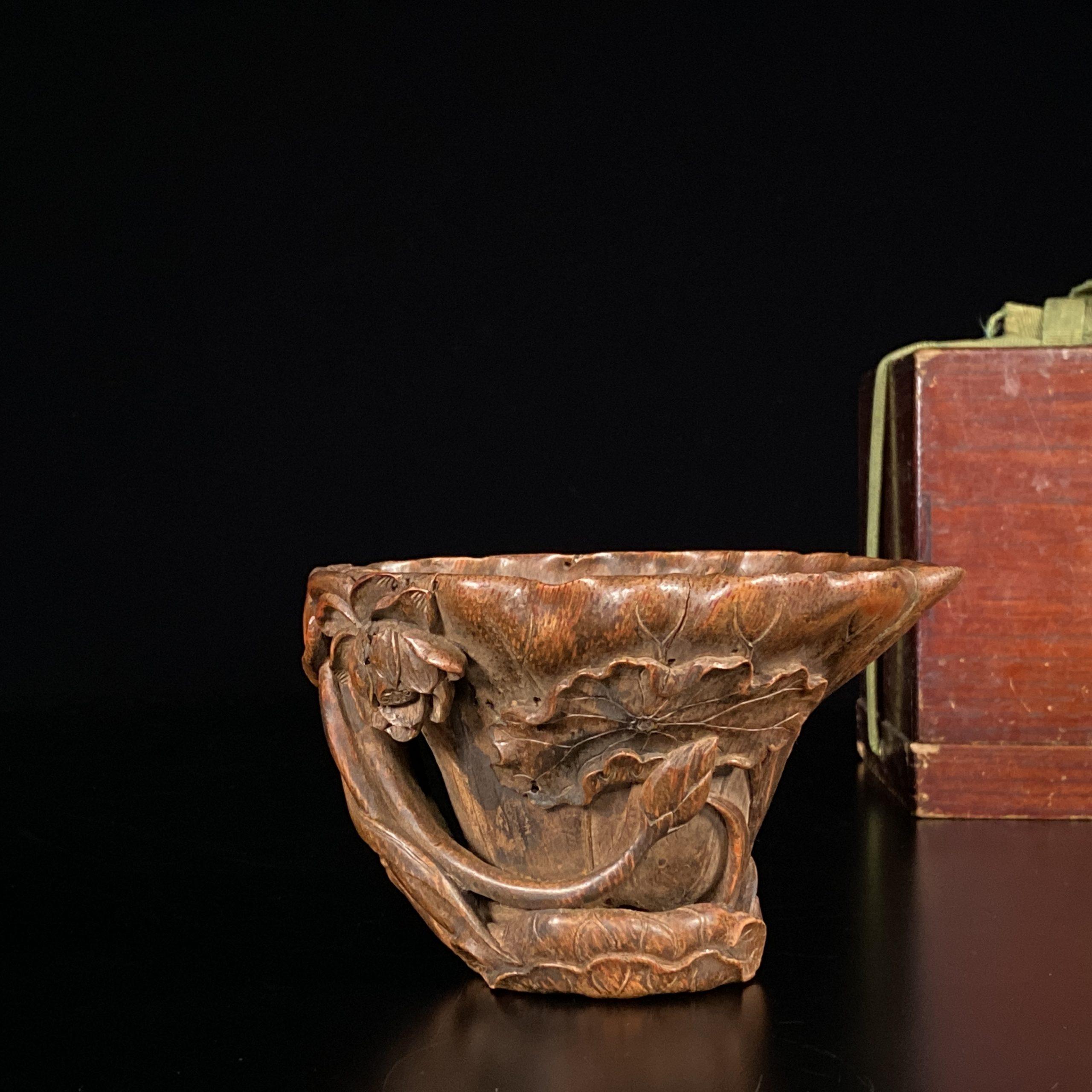 21454竹雕 荷葉紋 杯