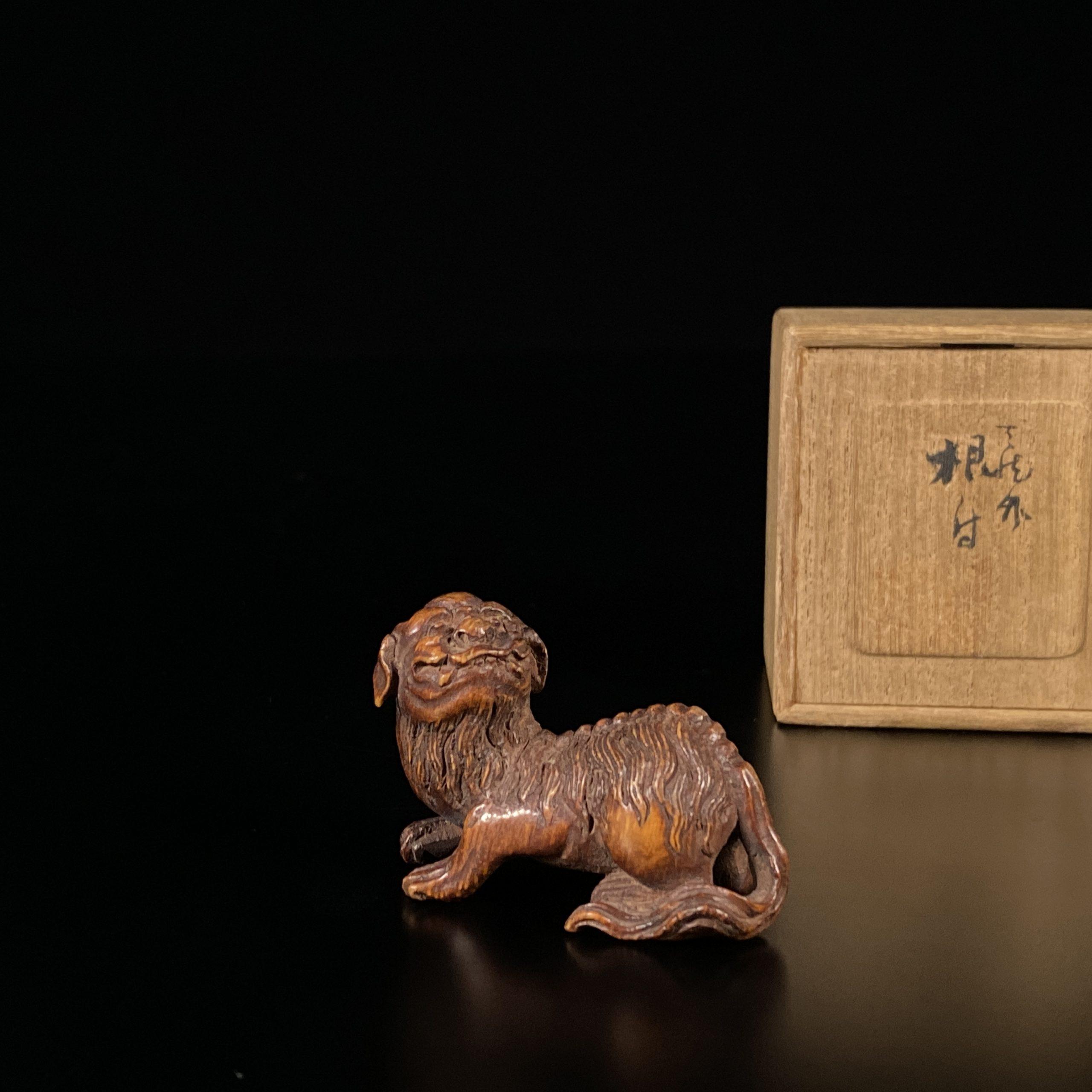21455清 竹雕 獅子筆架