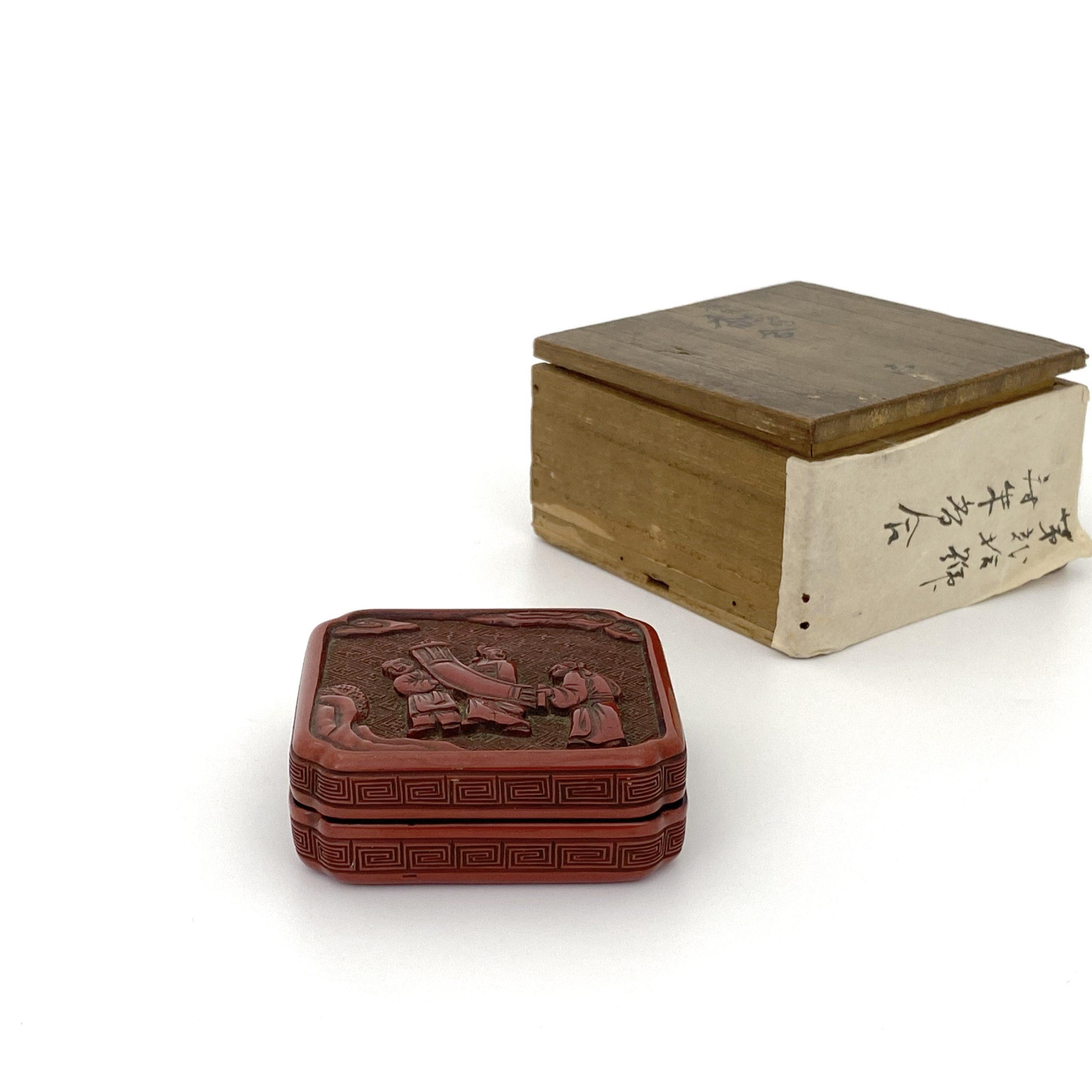 21467明 剔紅雕 人物紋 蓋盒