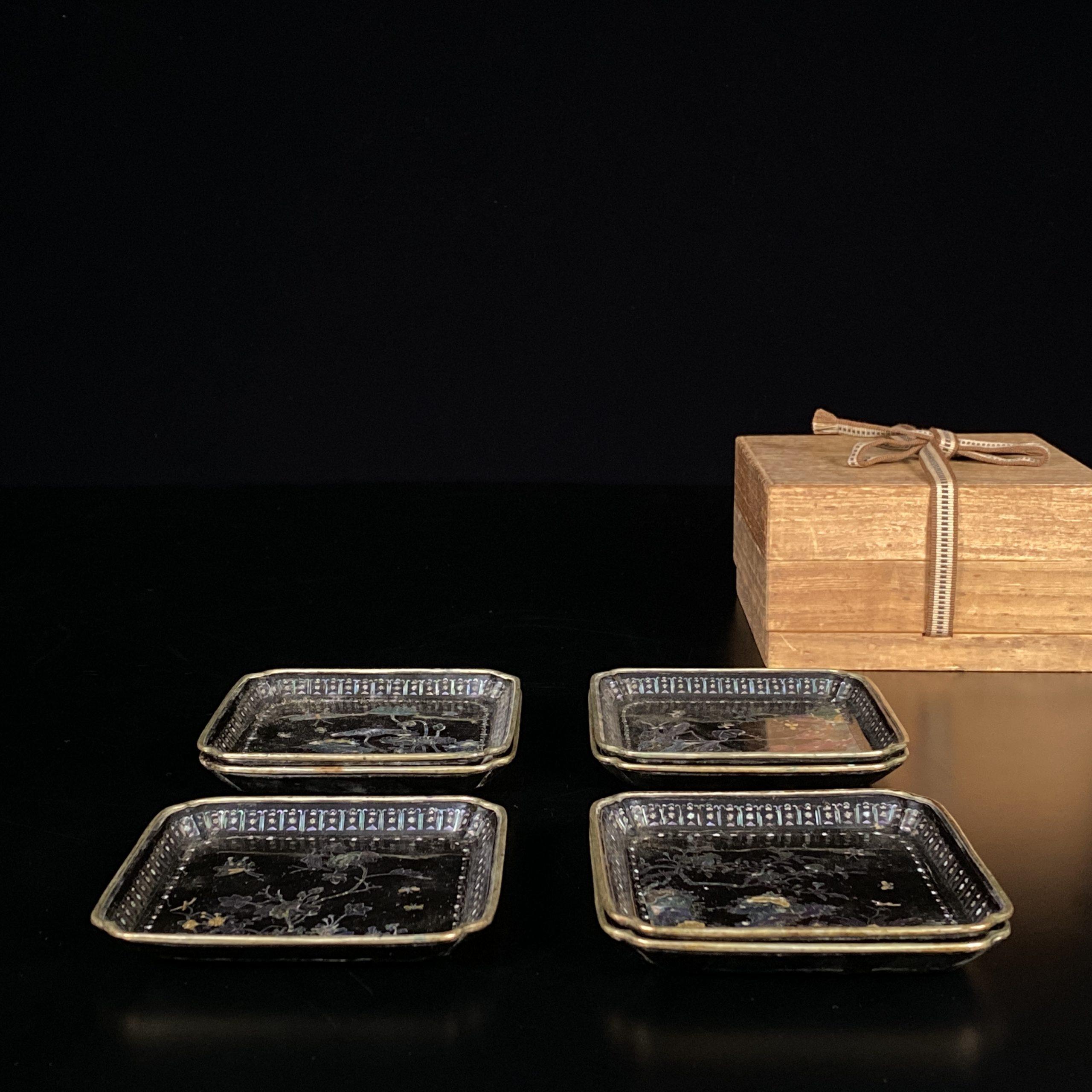 21471清「千里」款 黒漆嵌螺鈿 花虫紋 盤⑦