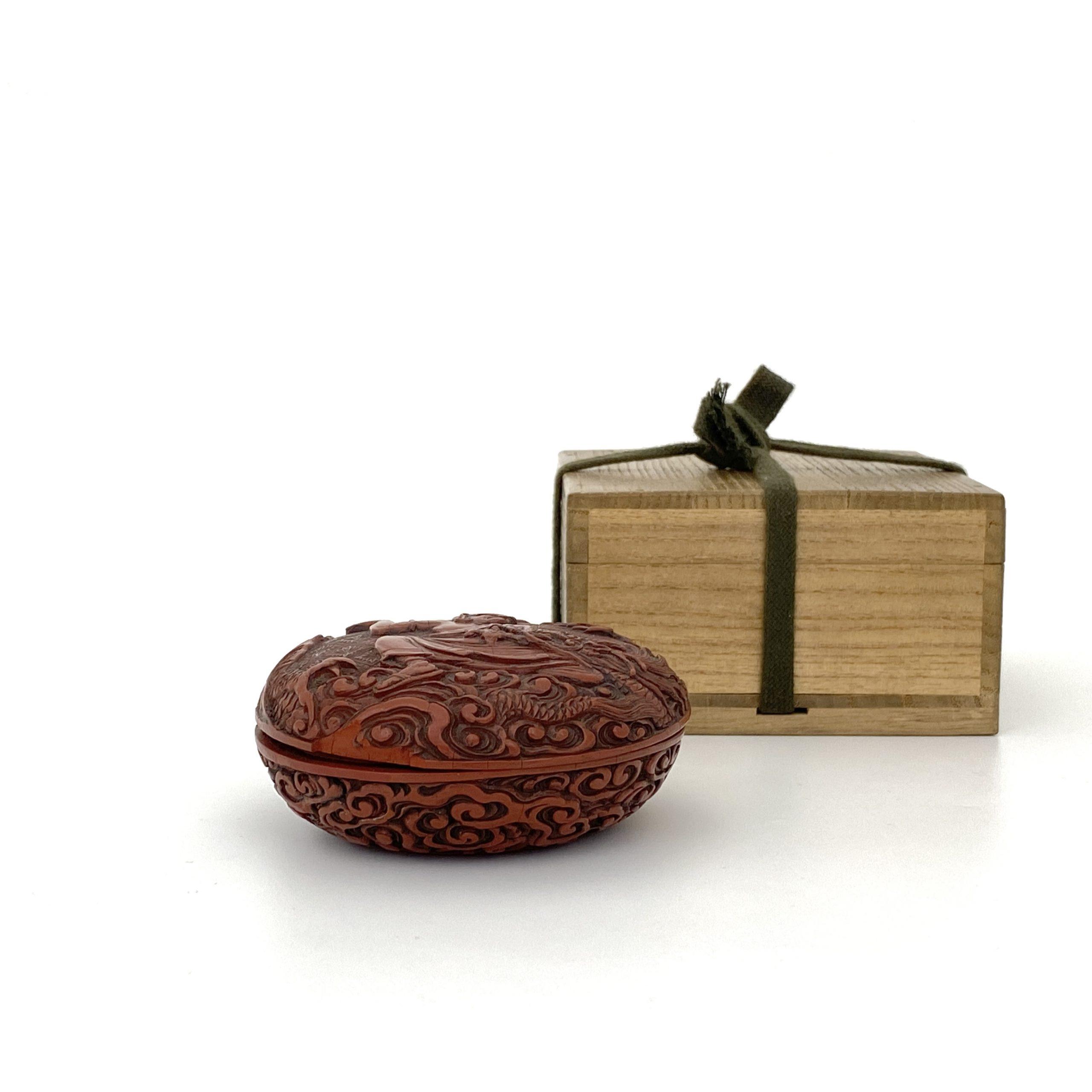 21483剔紅雕 羅漢紋 圓盒