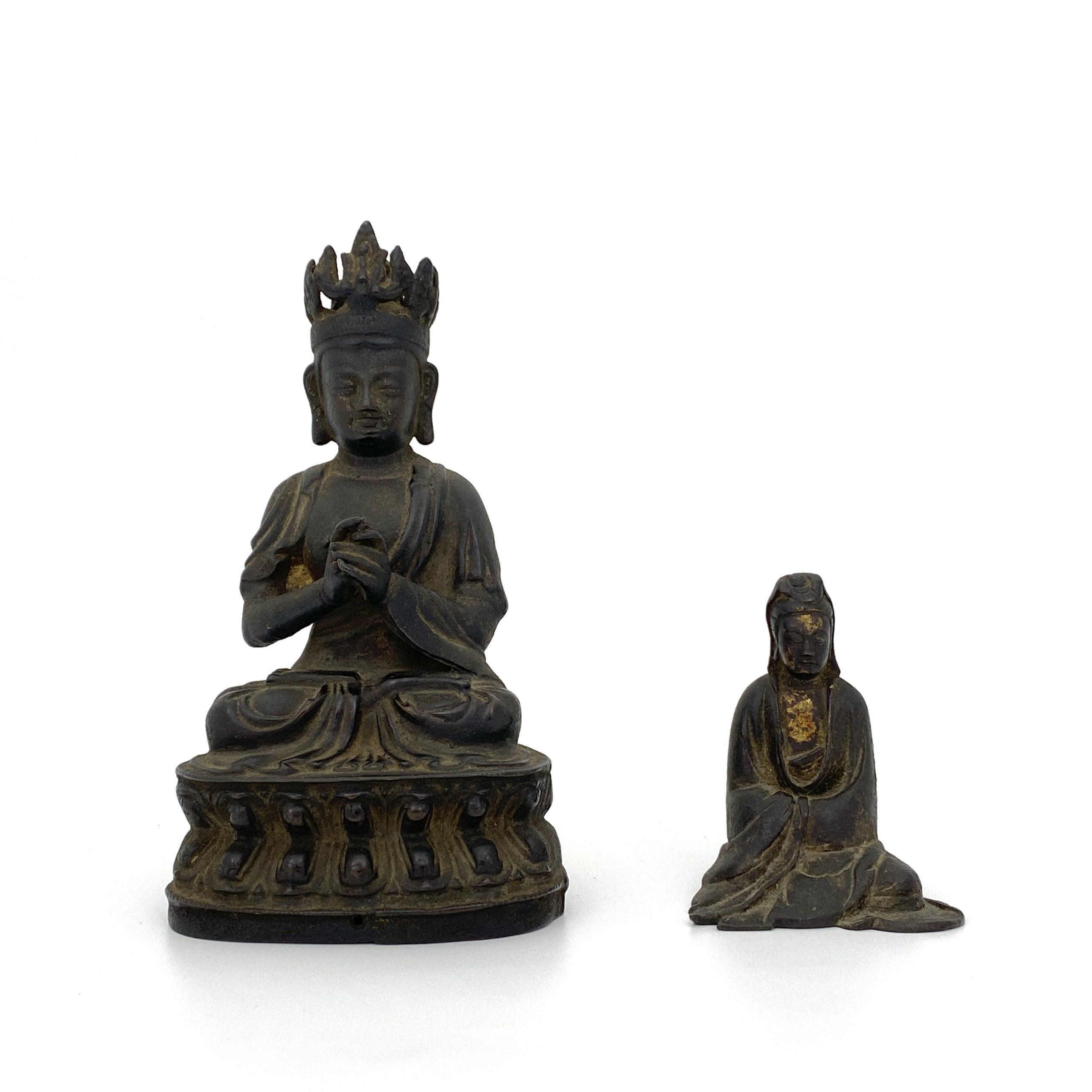 21490清早期 銅漆金 菩薩坐像等 計2件