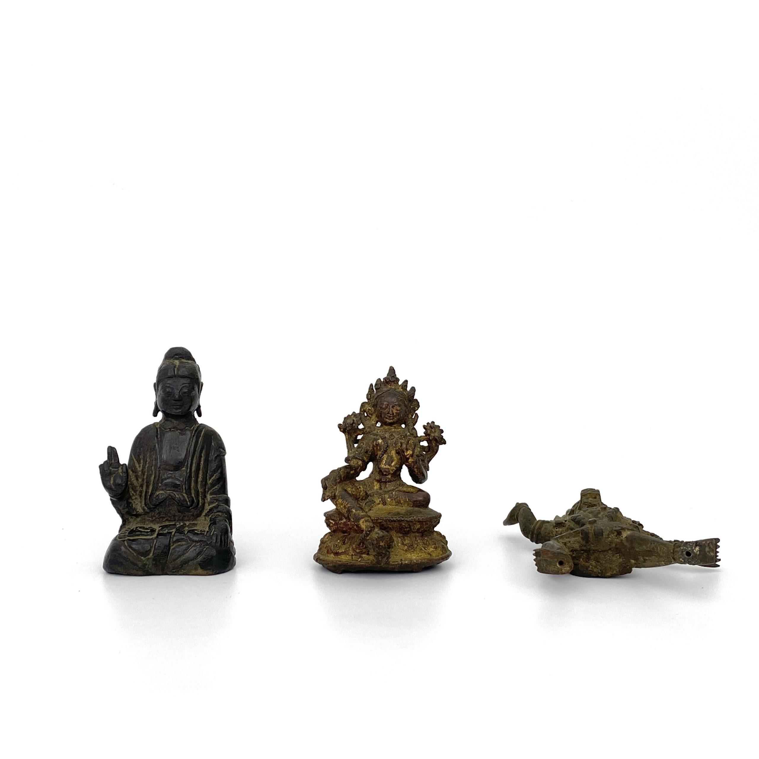 21491遼或以前 銅 菩薩坐像等 計3件
