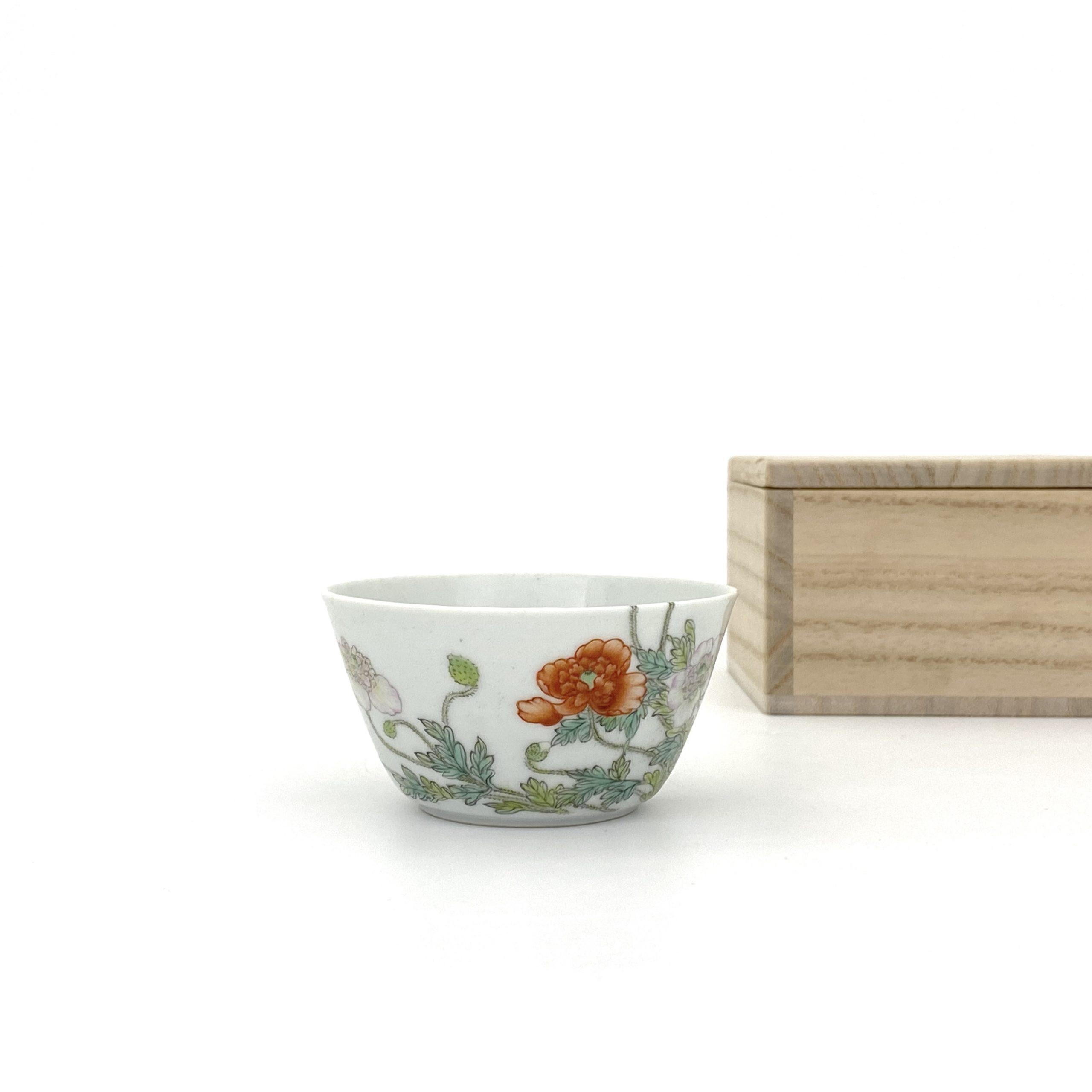 21052「朗唫閣製」款 粉彩 花紋 杯