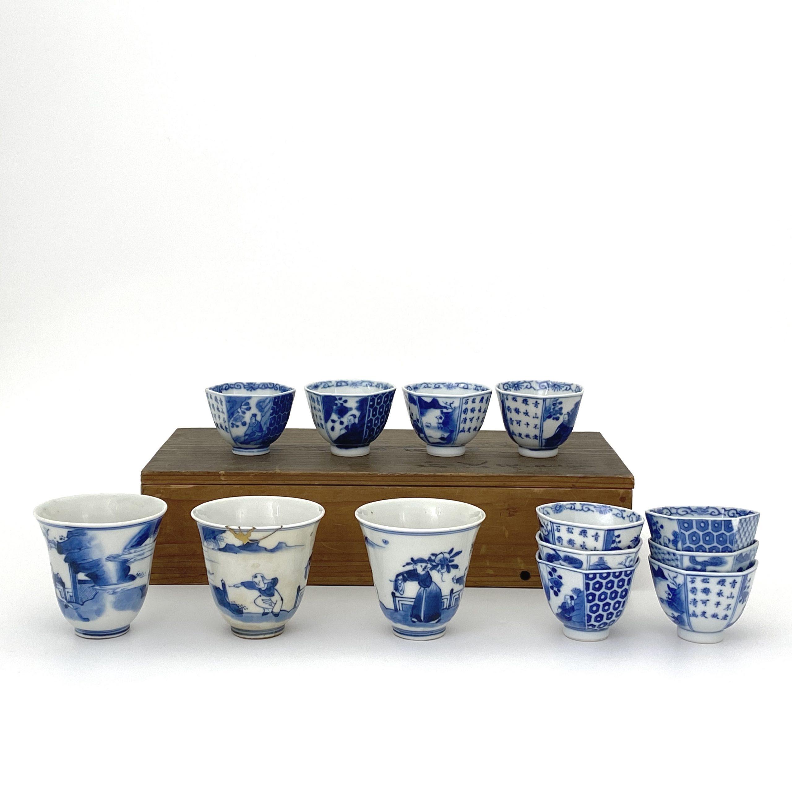 21053清 青花 山水人物図 碗等 計2種