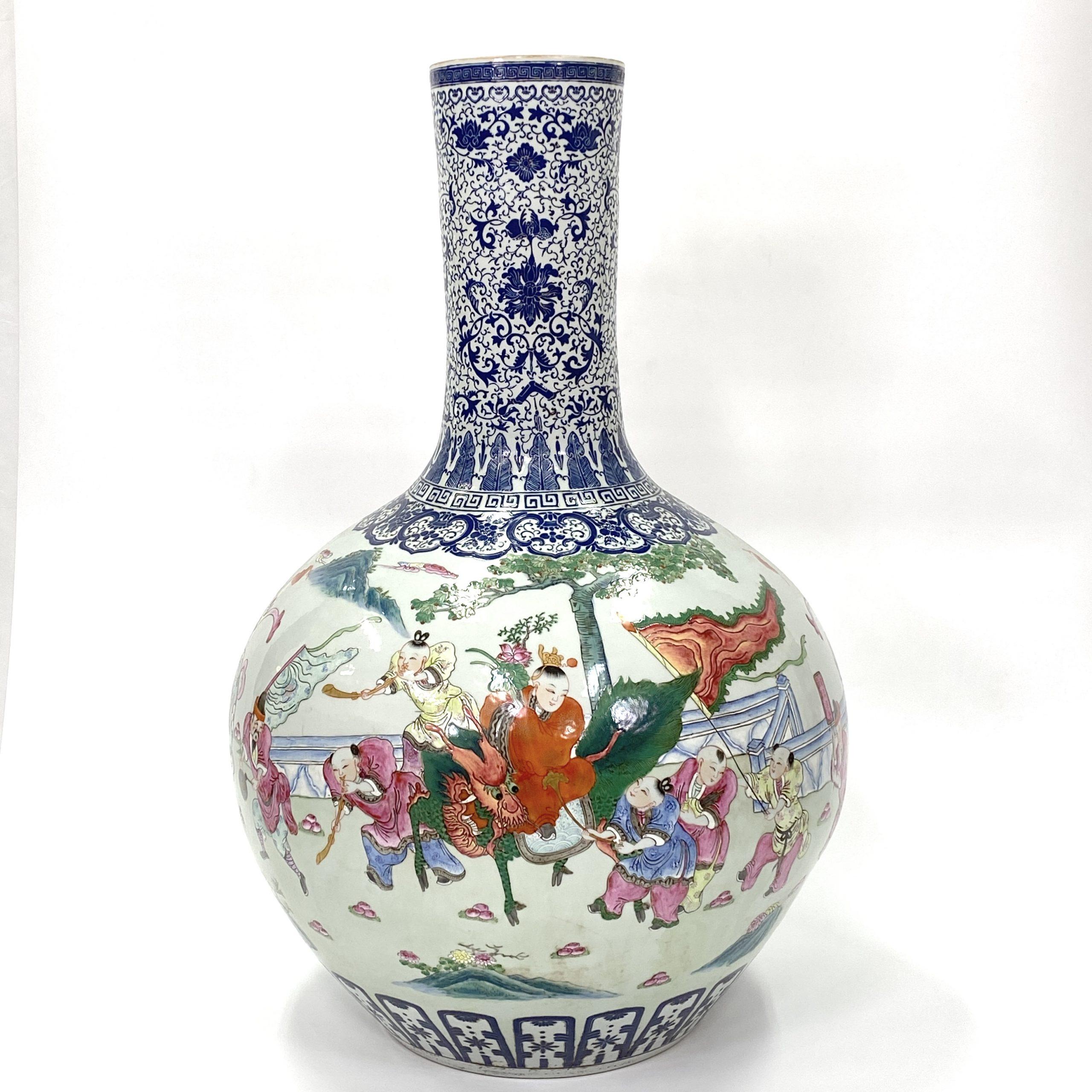 21059「大清乾隆年製」款 粉彩 人物紋 天球瓶