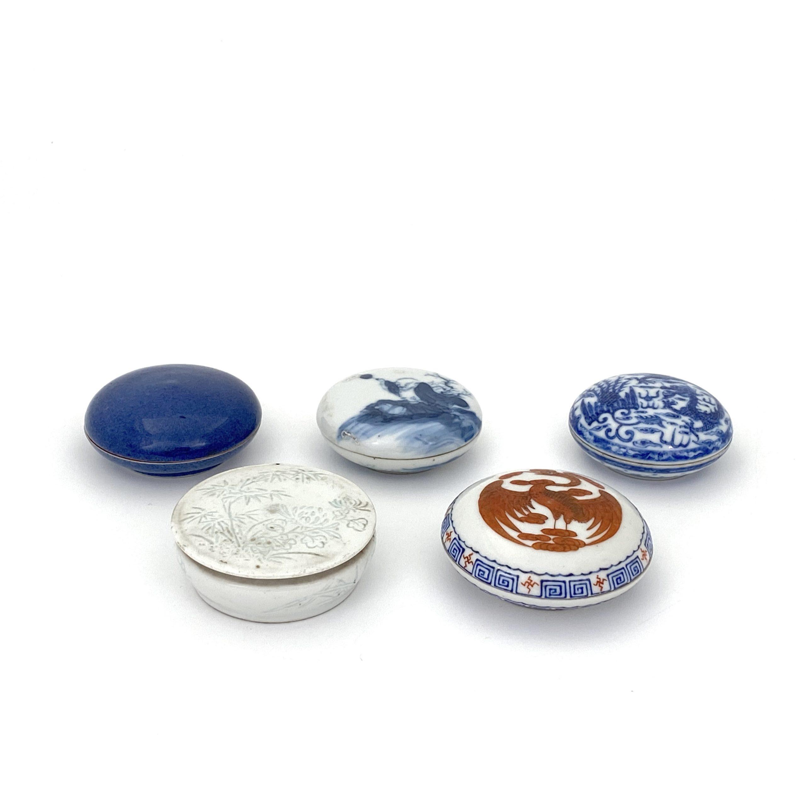 21065「乾隆年製」款 青花 赤絵 鳳凰紋 圓盒等 計5件