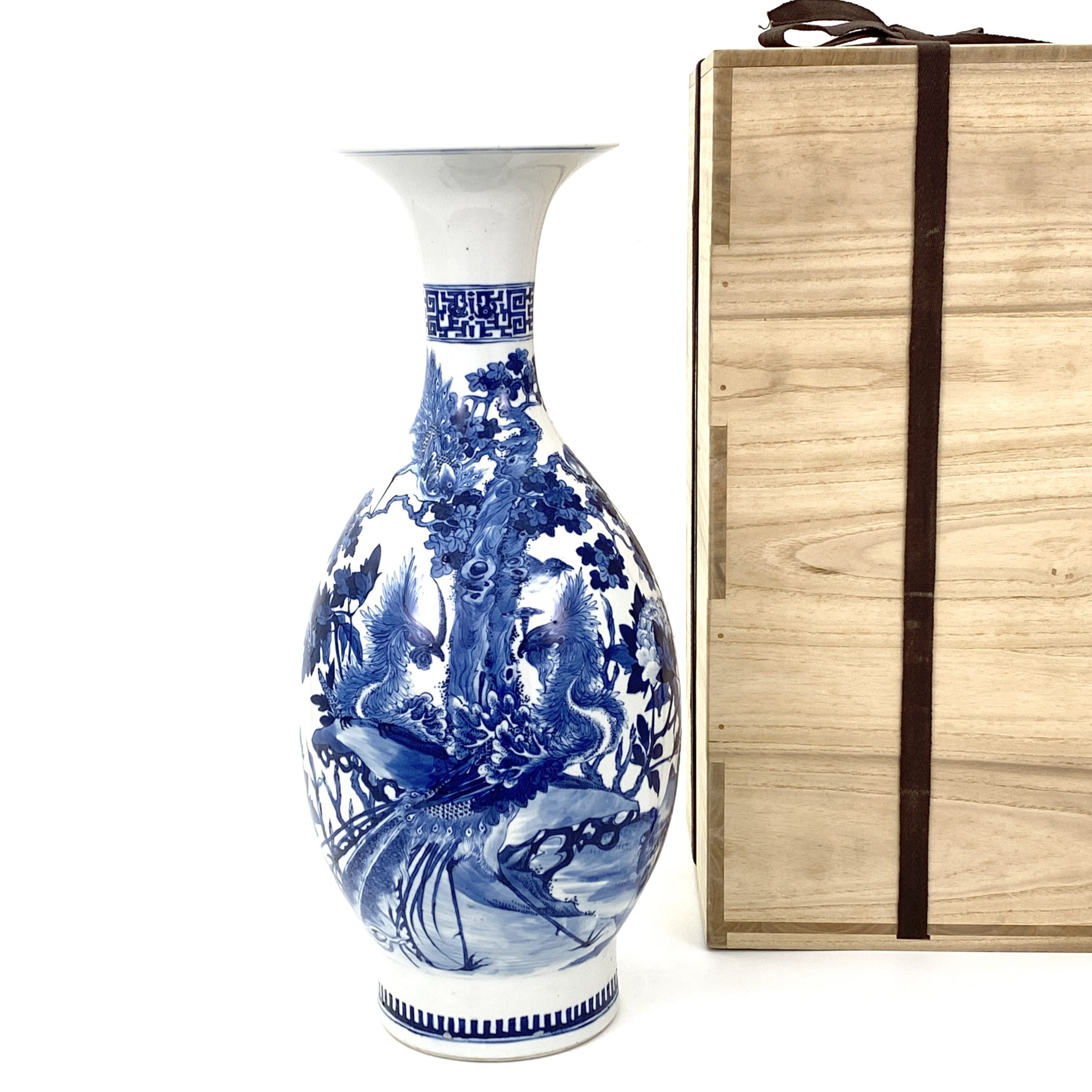 21667清「大清康煕年製」款 青花 花鳥図 瓶