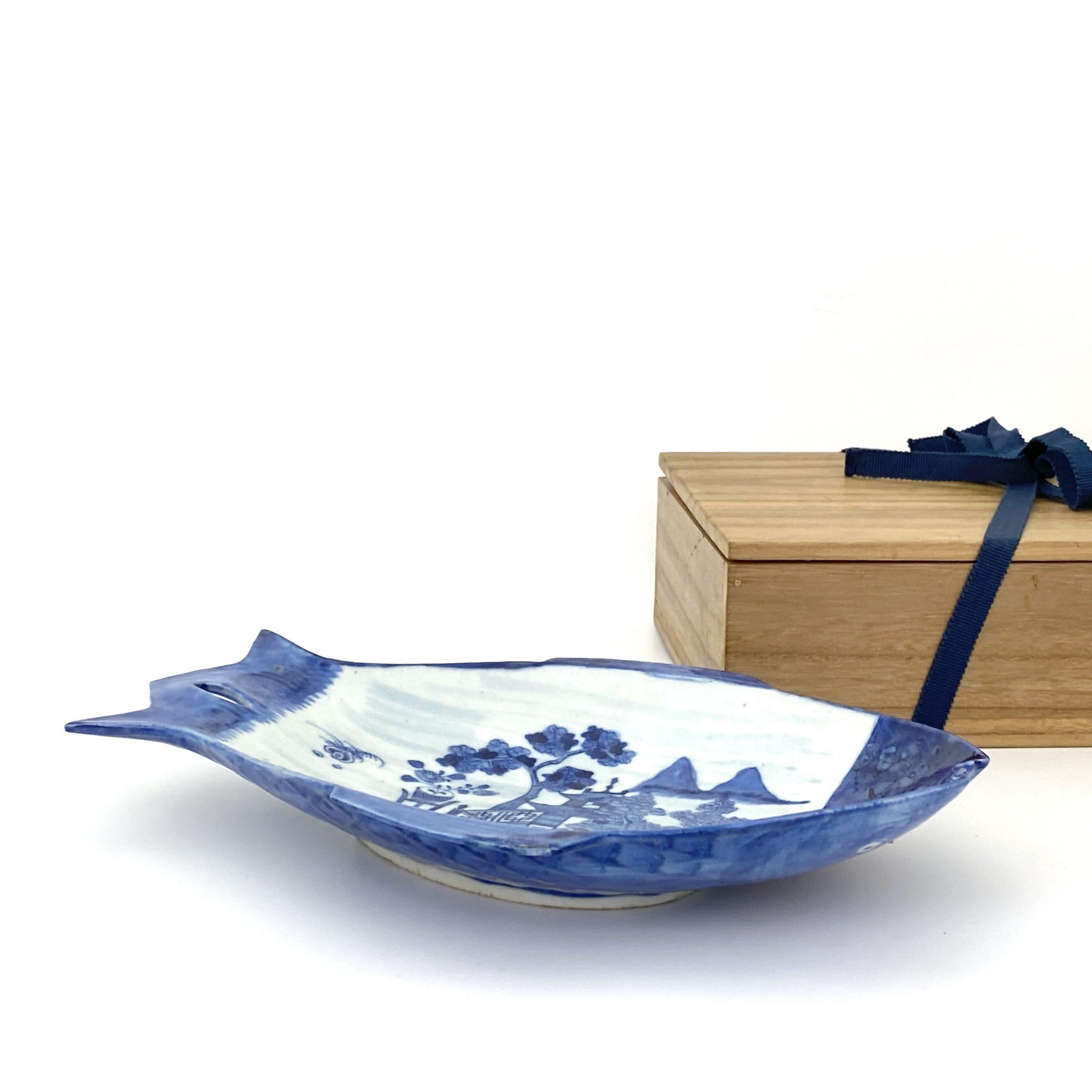 21682清 青花 山水図 雙魚形 盤