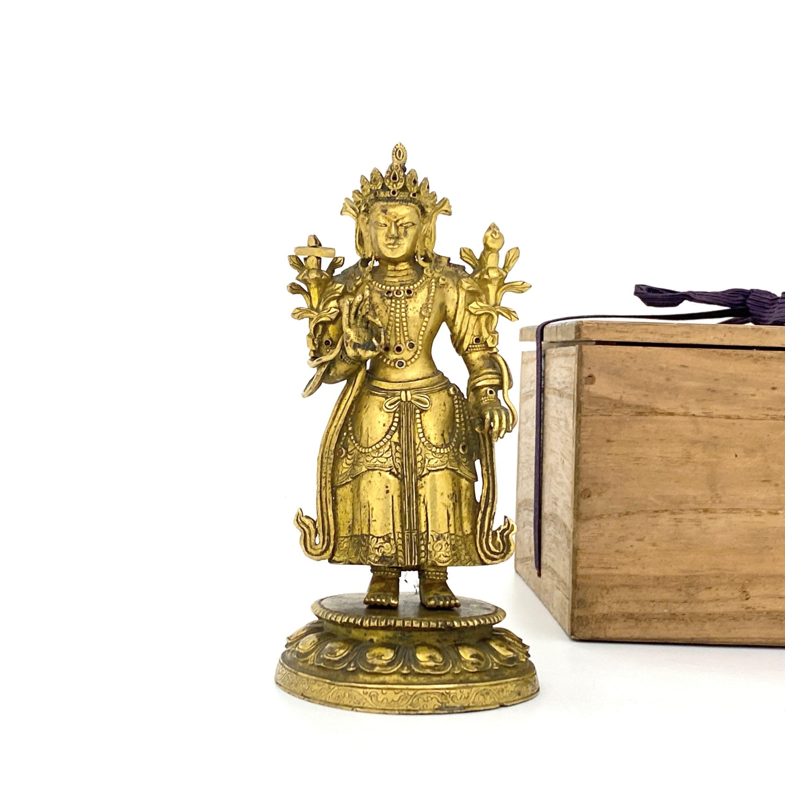 21696清十七 /十八世紀 銅鎏金嵌百寶 緑度母立像 第17回網頁掲載品