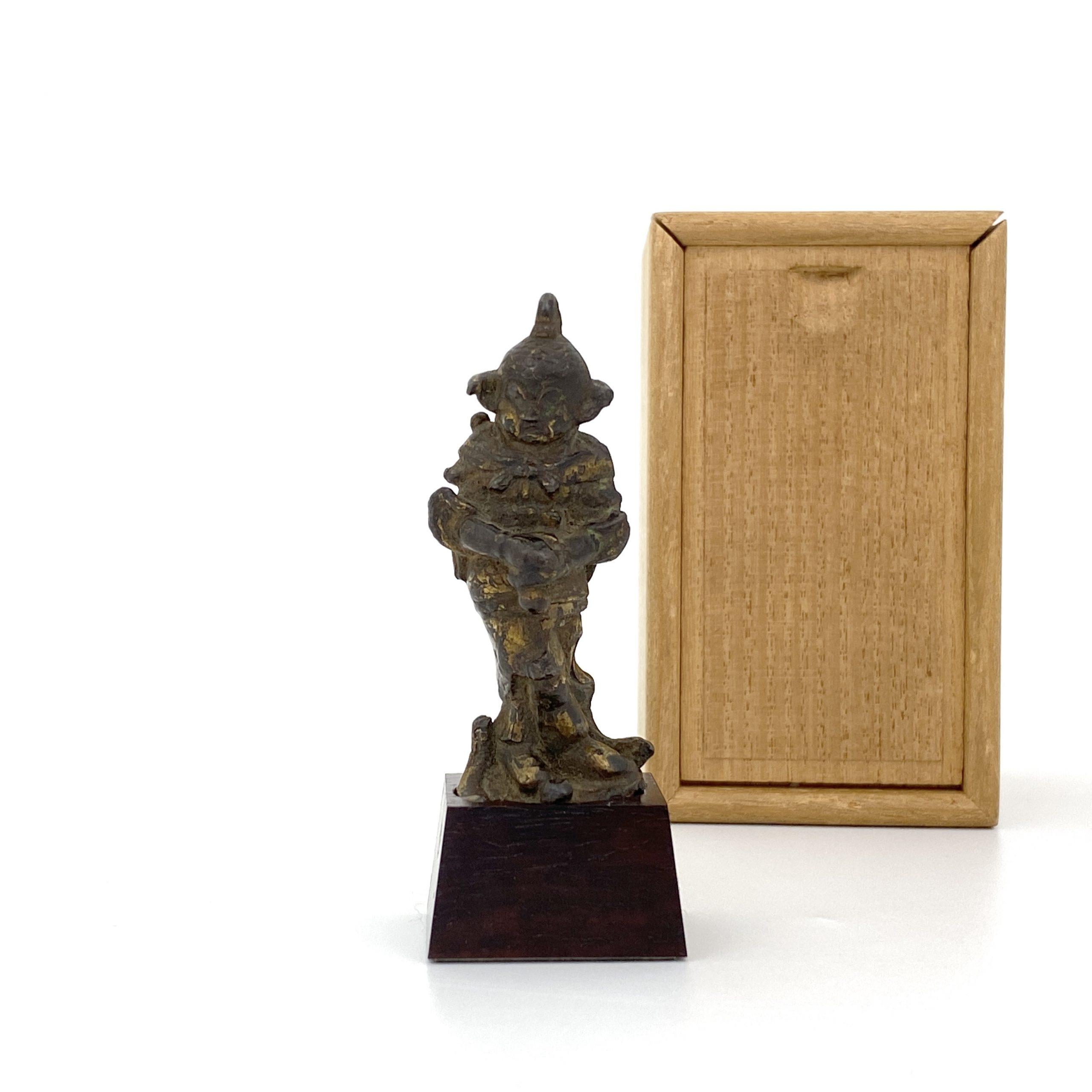 21699唐或以前 青銅鎏金 武人立像 同一収蔵家 第17回網頁掲載品