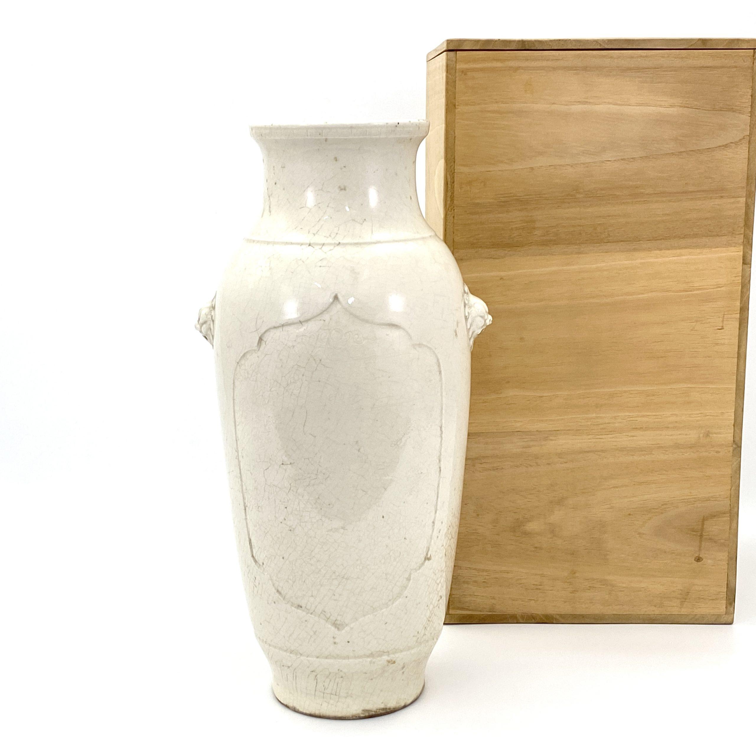 21080徳化窯 獅子耳瓶